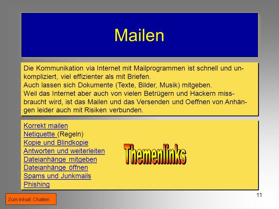 MailenDie Kommunikation via Internet mit Mailprogrammen ist schnell und un- kompliziert, viel effizienter als mit Briefen.
