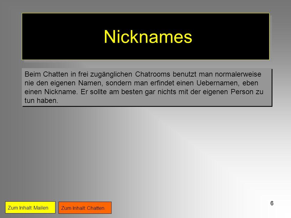 Nicknames Beim Chatten in frei zugänglichen Chatrooms benutzt man normalerweise.