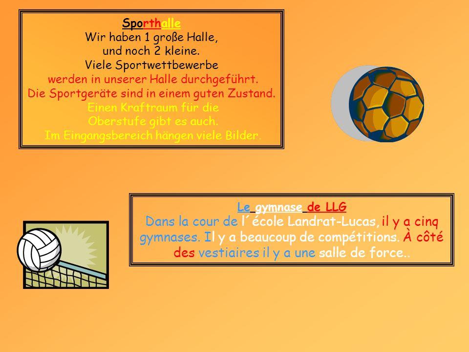Sporthalle Wir haben 1 große Halle, und noch 2 kleine. Viele Sportwettbewerbe. werden in unserer Halle durchgeführt.