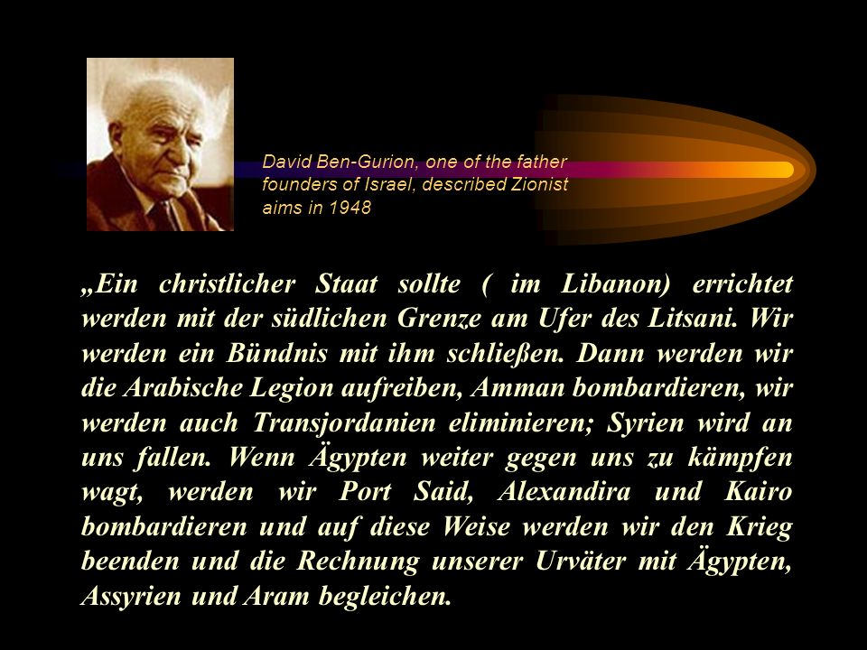 David Ben-Gurion, one of the father founders of Israel, described Zionist aims in 1948