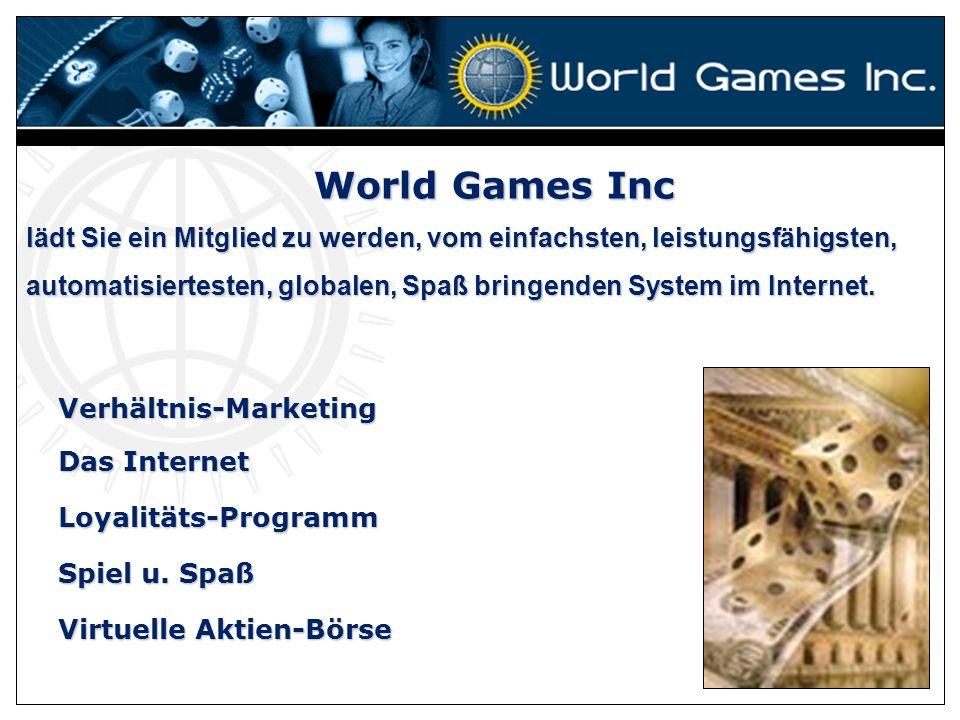 World Games Inc lädt Sie ein Mitglied zu werden, vom einfachsten, leistungsfähigsten,