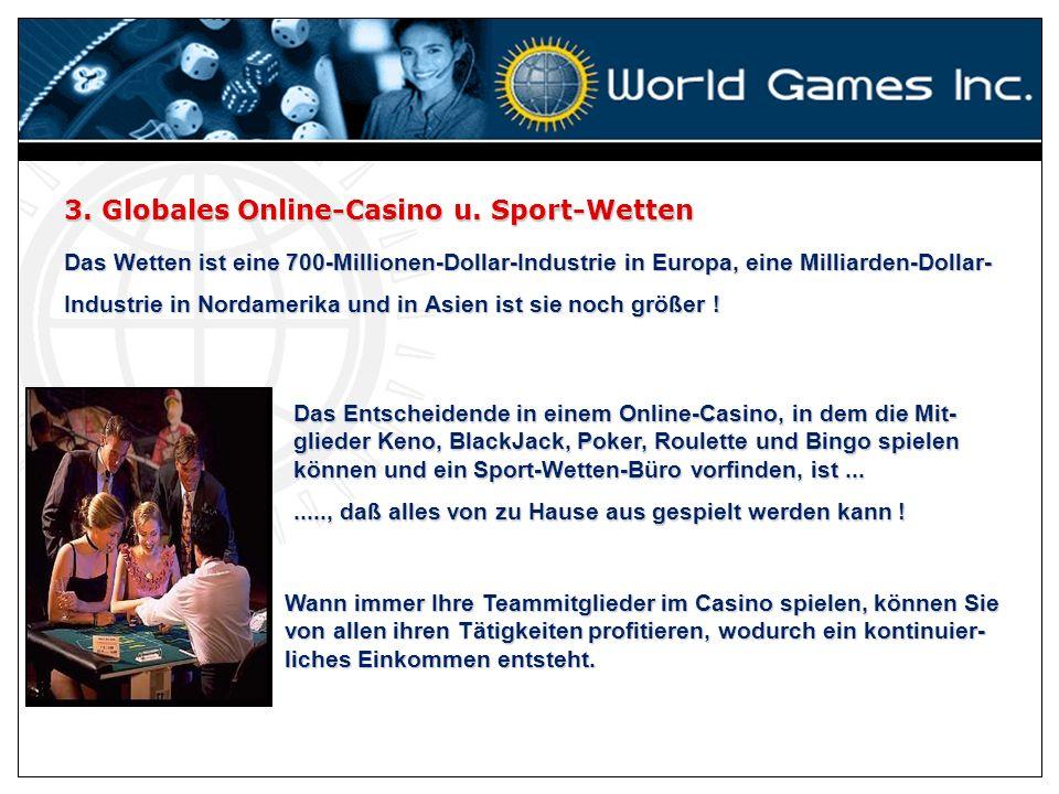 3. Globales Online-Casino u. Sport-Wetten