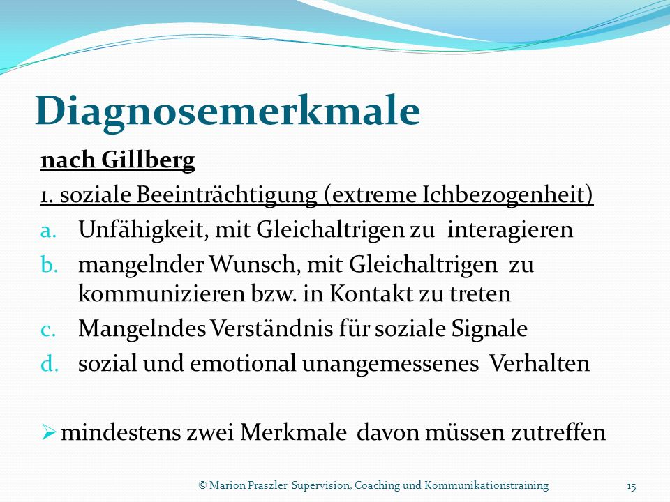 Diagnosemerkmale nach Gillberg