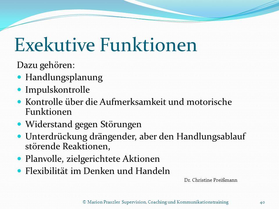 Exekutive Funktionen Dazu gehören: Handlungsplanung Impulskontrolle
