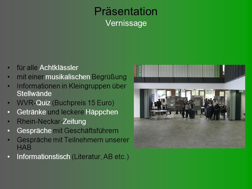 Präsentation Vernissage