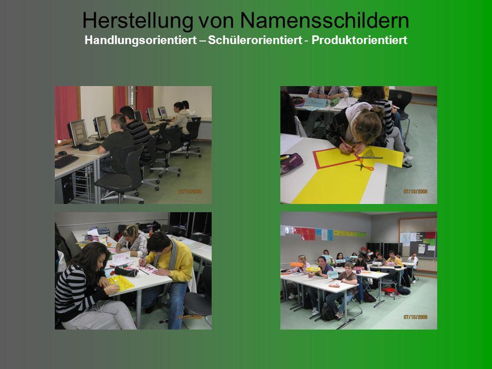 Herstellung von Namensschildern Handlungsorientiert – Schülerorientiert - Produktorientiert
