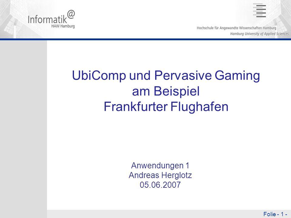 UbiComp und Pervasive Gaming am Beispiel Frankfurter Flughafen