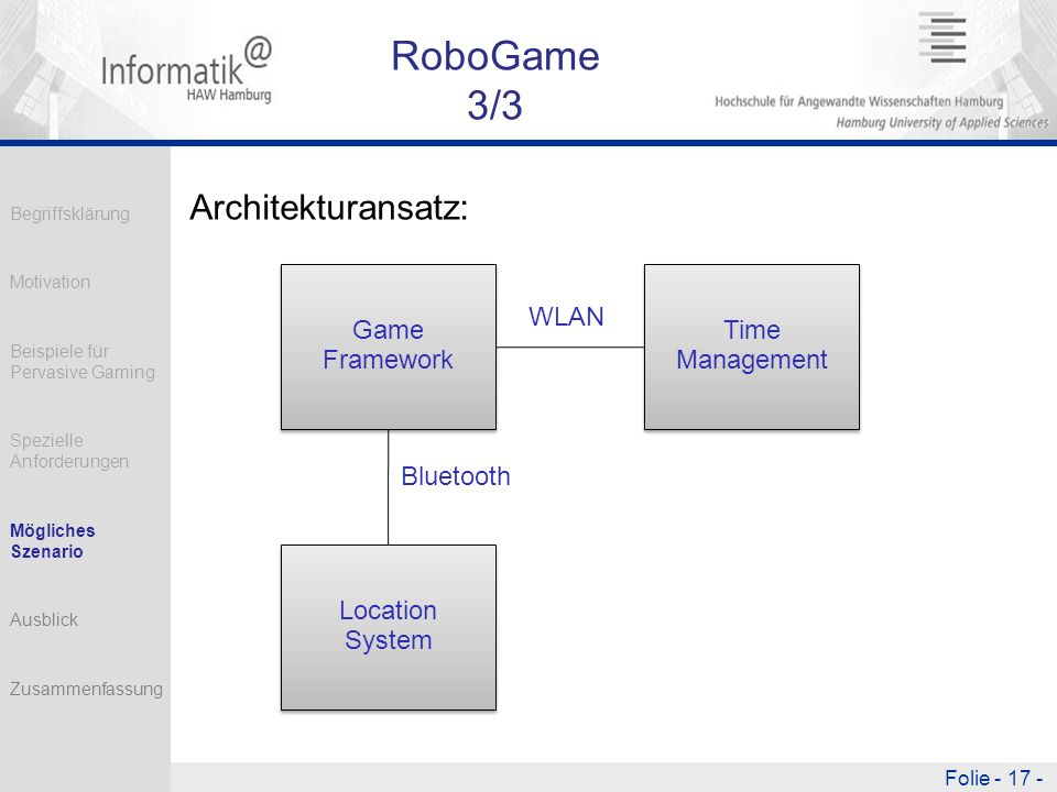 RoboGame 3/3 Architekturansatz: Bluetooth WLAN Game Framework