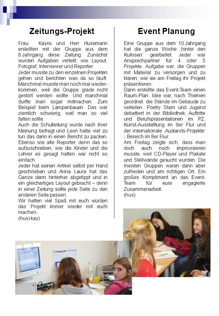 Zeitungs-Projekt Event Planung