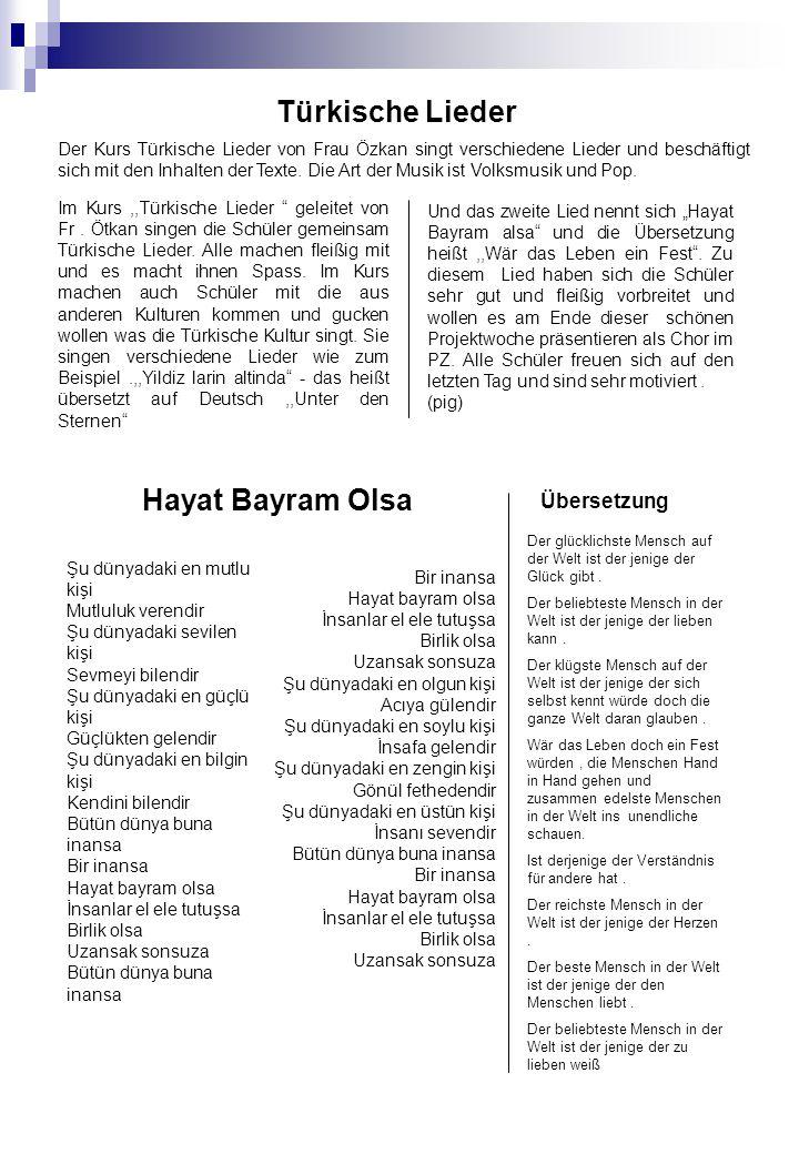 Türkische Lieder Hayat Bayram Olsa Übersetzung