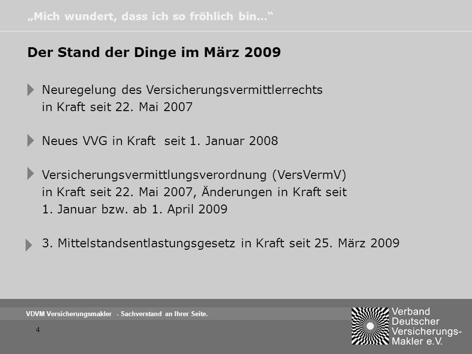     Der Stand der Dinge im März 2009