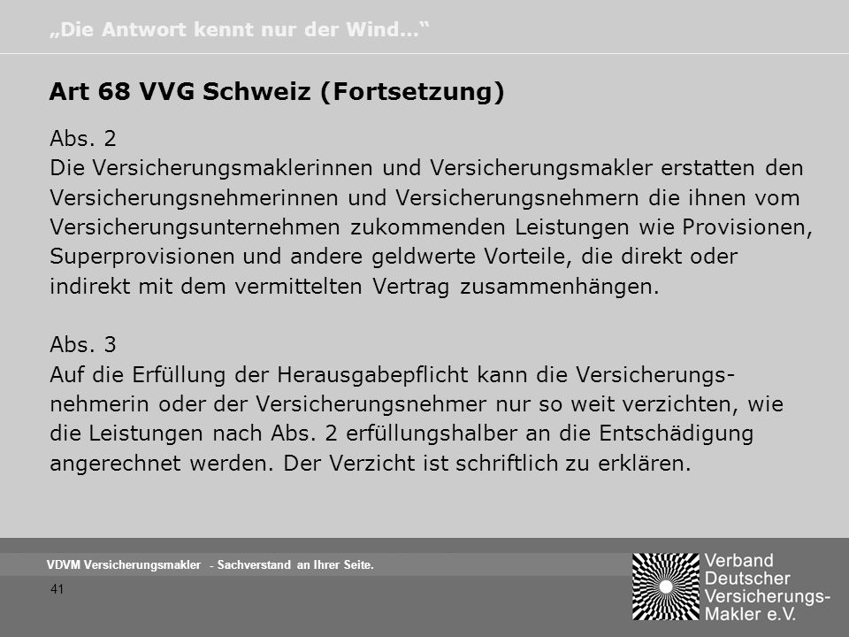 Art 68 VVG Schweiz (Fortsetzung)
