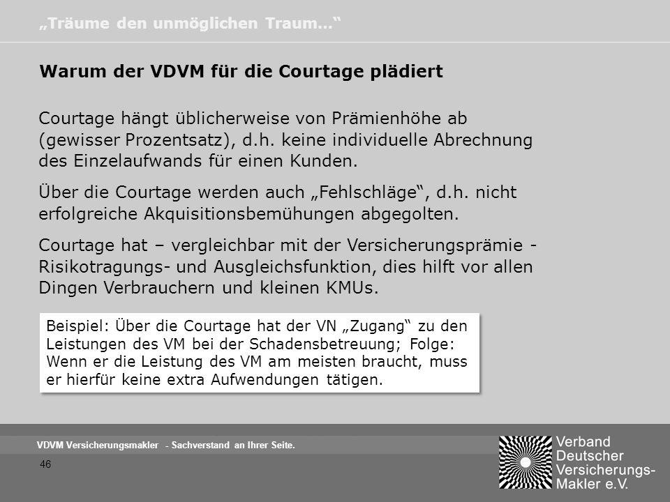 Warum der VDVM für die Courtage plädiert