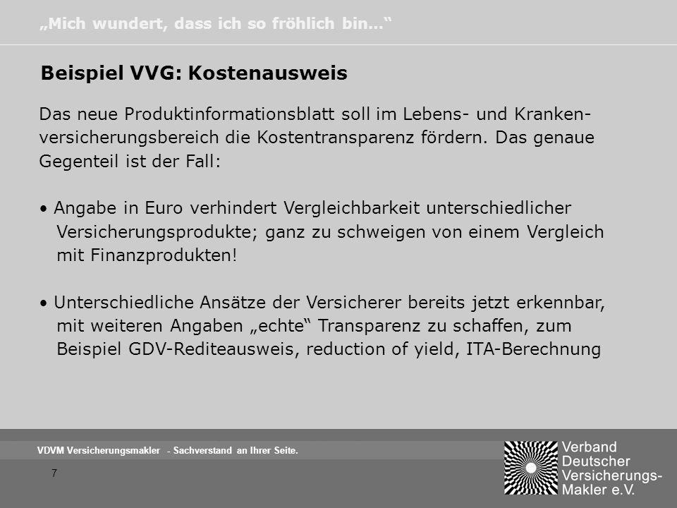 Beispiel VVG: Kostenausweis