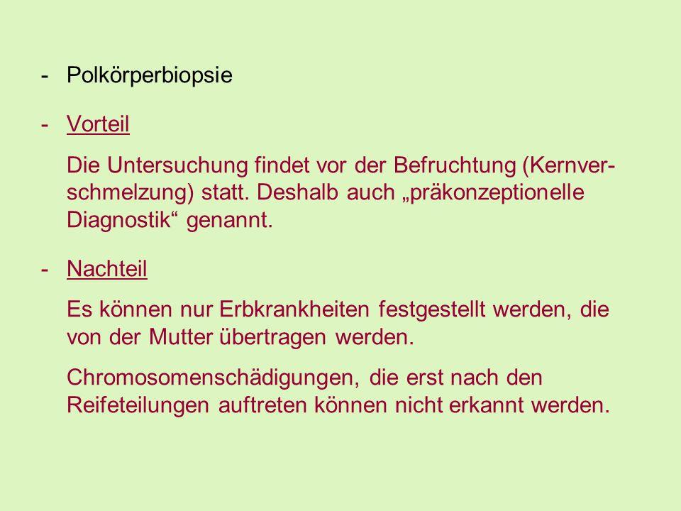 Polkörperbiopsie Vorteil.
