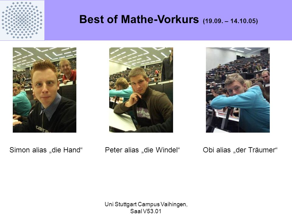 Best of Mathe-Vorkurs (19.09. – 14.10.05)