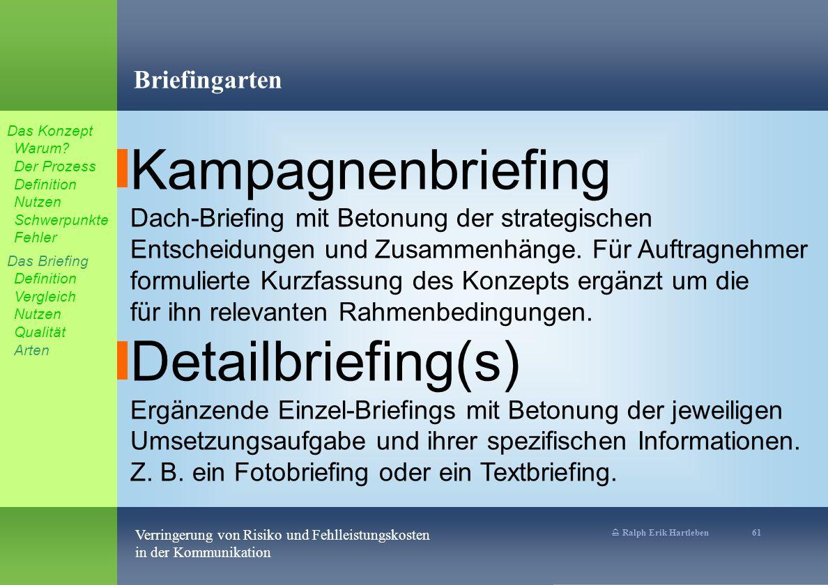 Kampagnenbriefing Detailbriefing(s) Briefingarten
