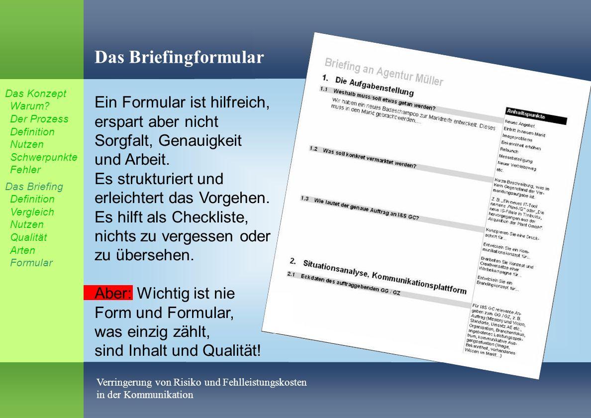 Das Briefingformular Das Konzept Warum Der Prozess Definition Nutzen Schwerpunkte Fehler.