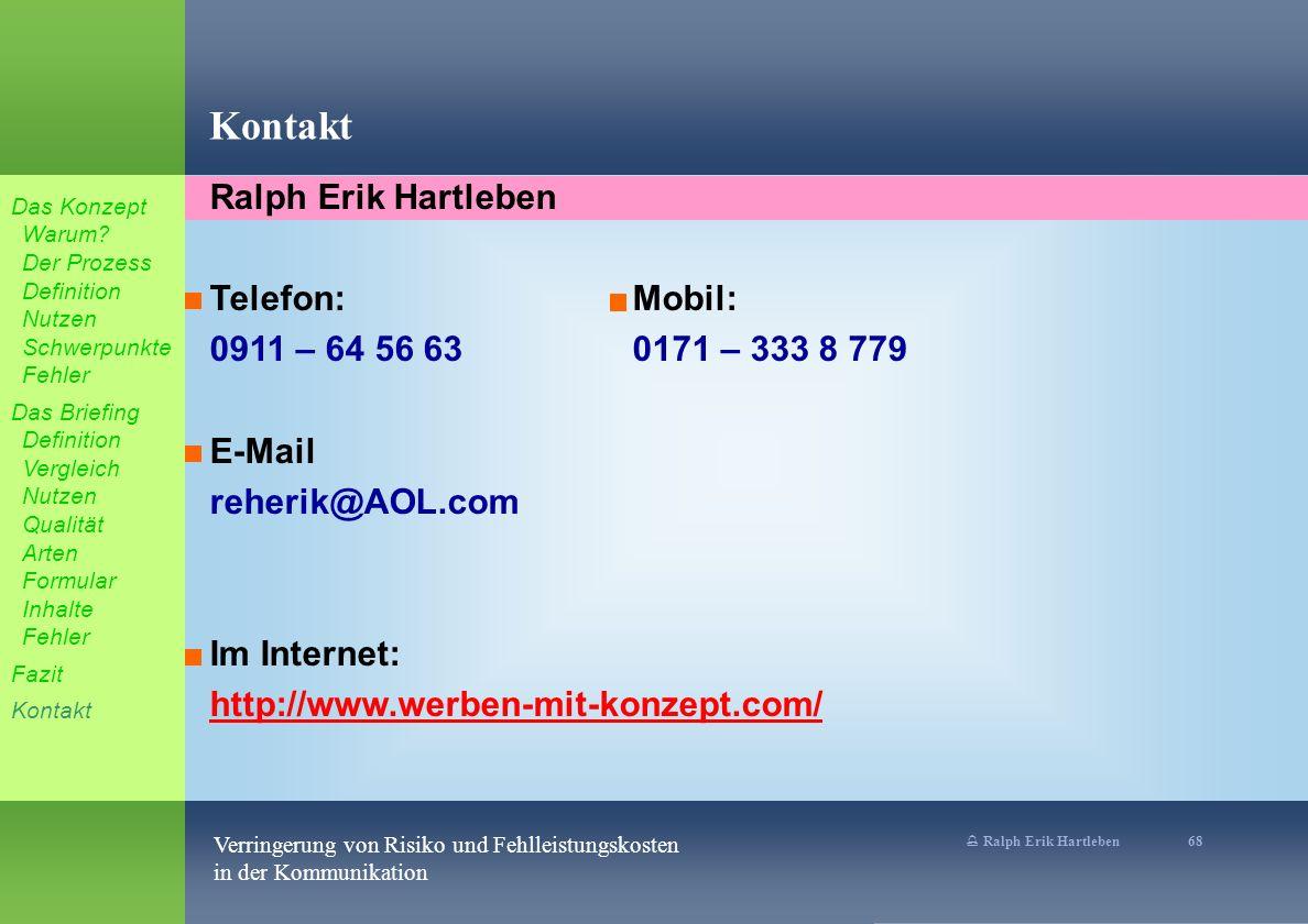 Kontakt Ralph Erik Hartleben Telefon: Mobil: