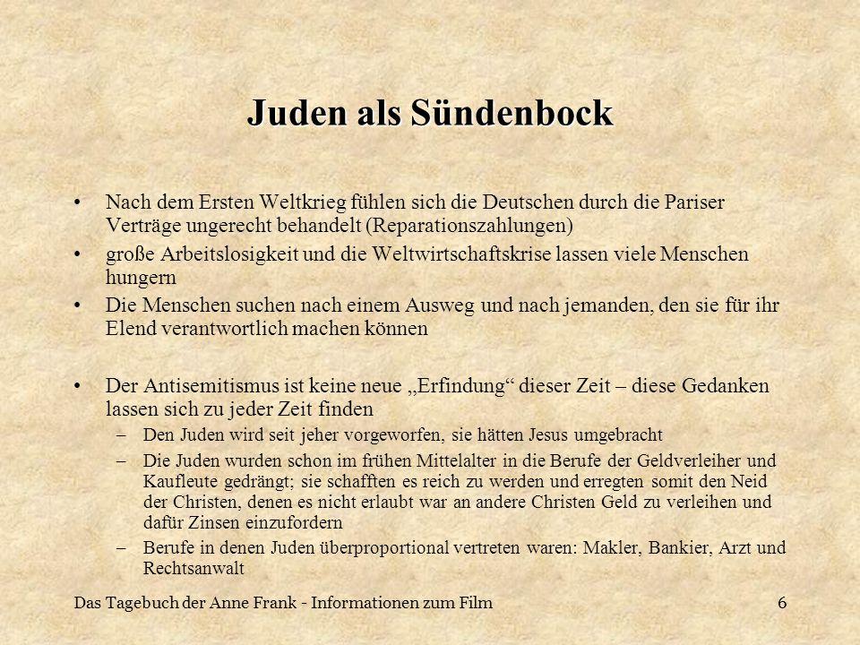 Juden als SündenbockNach dem Ersten Weltkrieg fühlen sich die Deutschen durch die Pariser Verträge ungerecht behandelt (Reparationszahlungen)