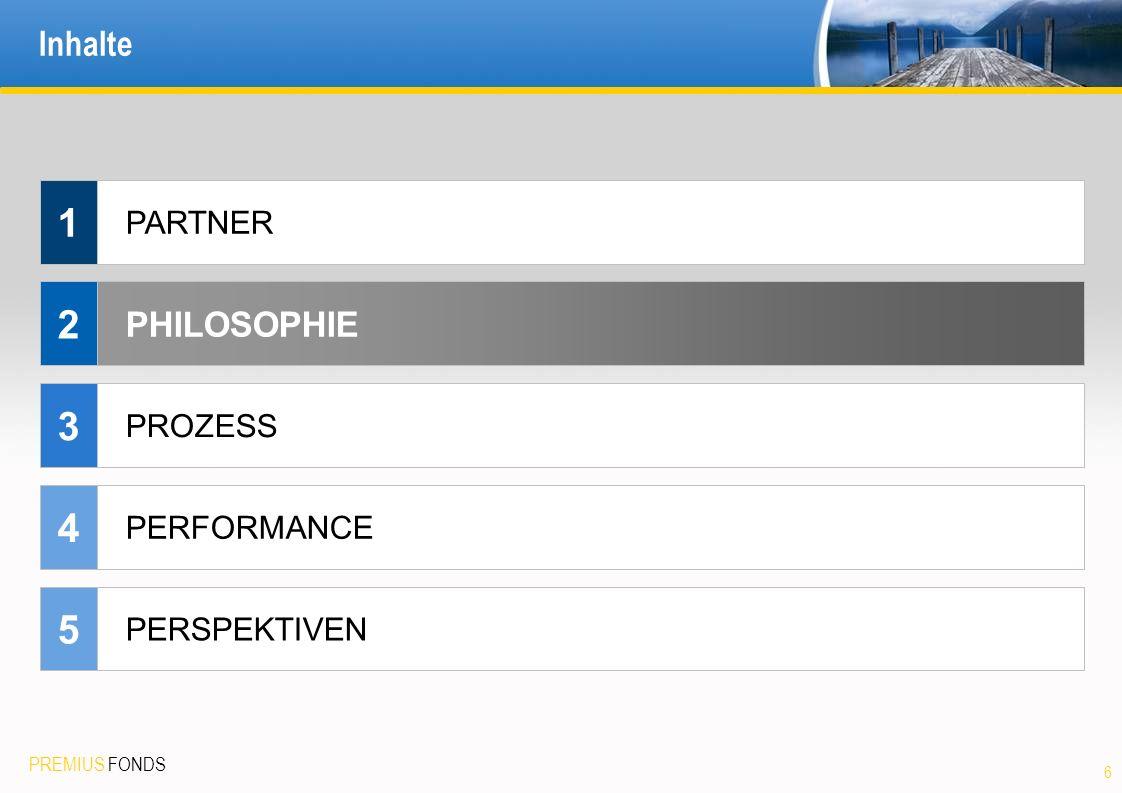 1 2 3 4 5 Inhalte PHILOSOPHIE PARTNER PROZESS PERFORMANCE PERSPEKTIVEN