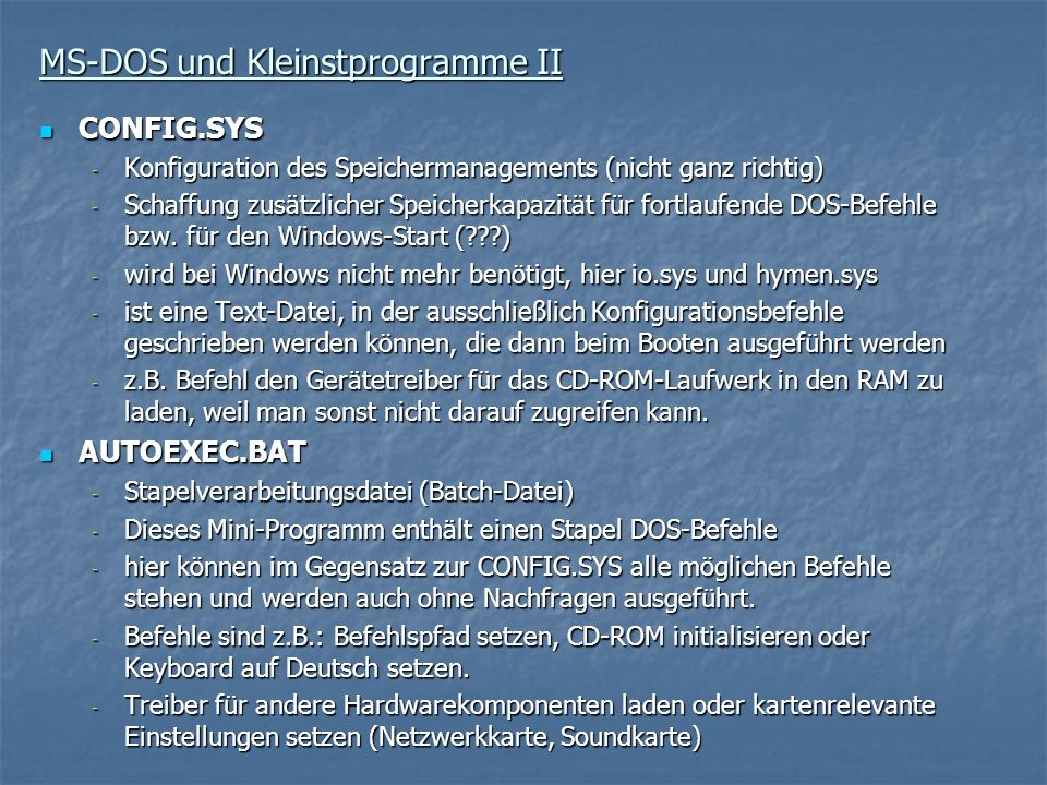 MS-DOS und Kleinstprogramme II