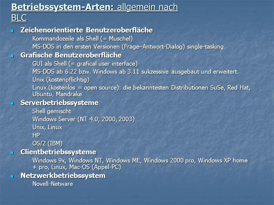 Betriebssystem-Arten: allgemein nach BLC