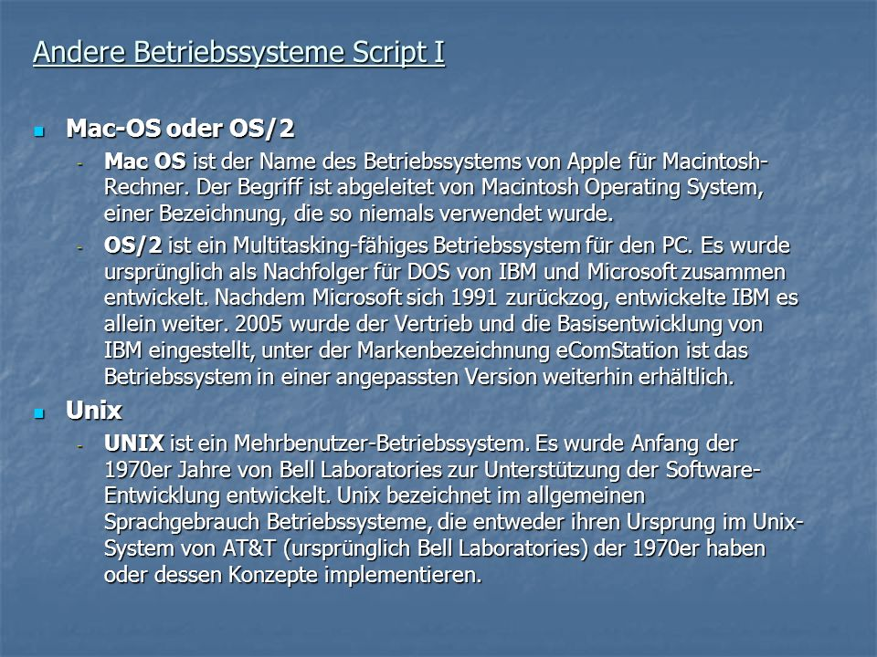 Andere Betriebssysteme Script I