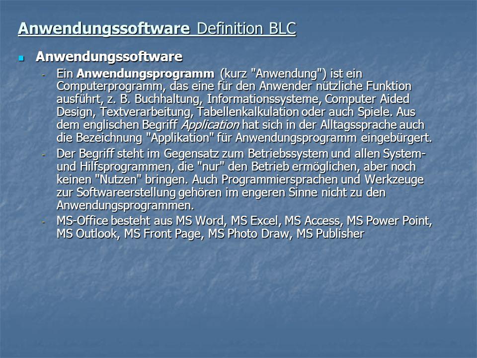 Anwendungssoftware Definition BLC