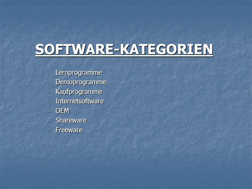 SOFTWARE-KATEGORIEN Lernprogramme Demoprogramme Kaufprogramme