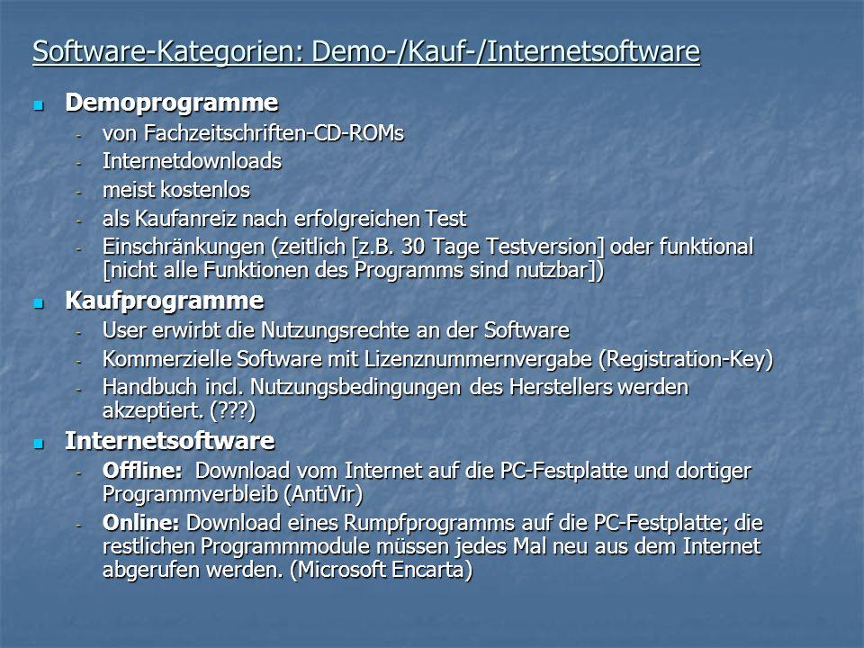 Software-Kategorien: Demo-/Kauf-/Internetsoftware