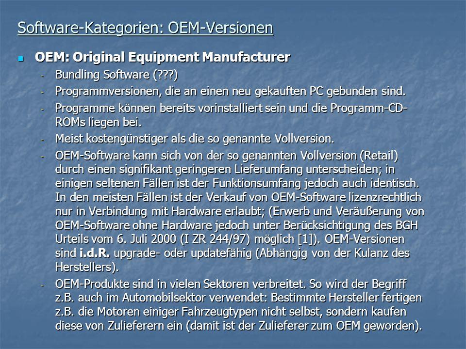 Software-Kategorien: OEM-Versionen