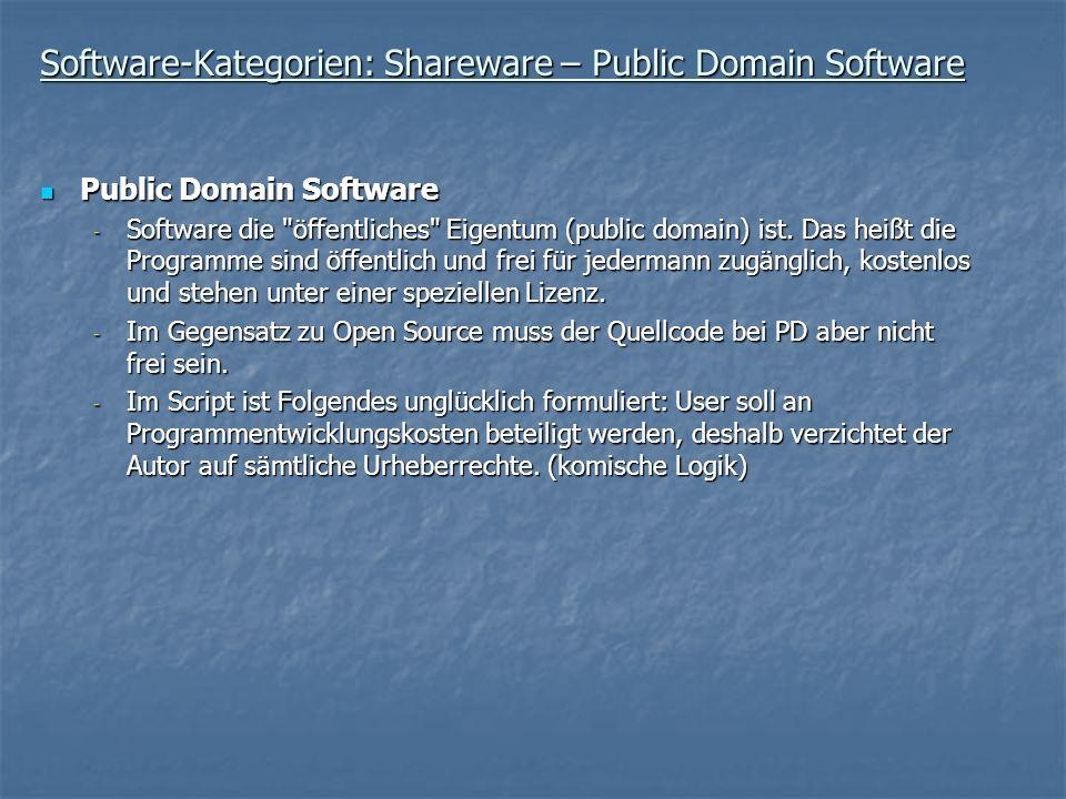 Software-Kategorien: Shareware – Public Domain Software