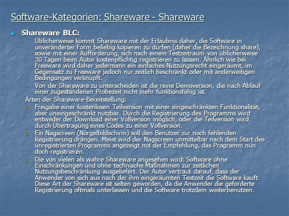 Software-Kategorien: Shareware - Shareware