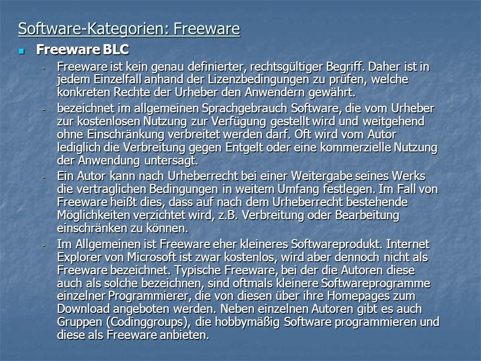 Software-Kategorien: Freeware