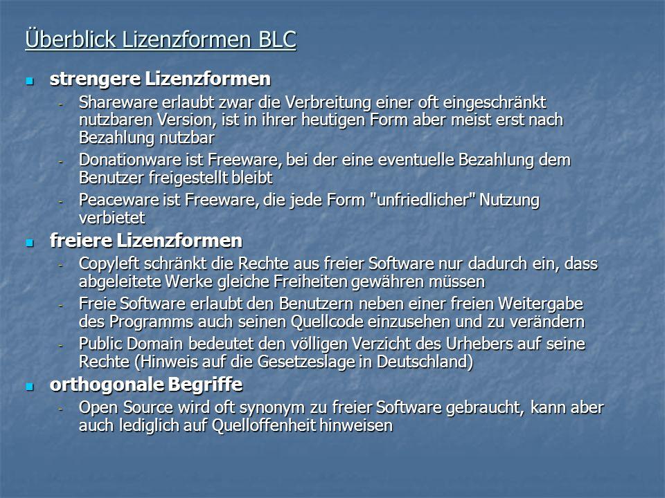 Überblick Lizenzformen BLC