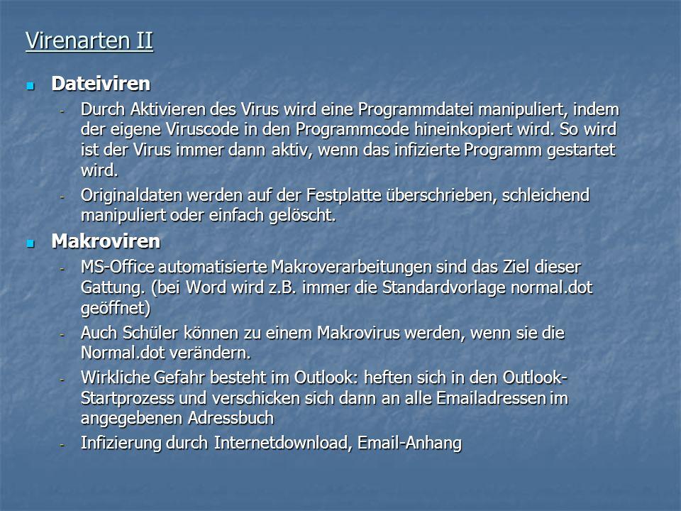 Virenarten II Dateiviren Makroviren