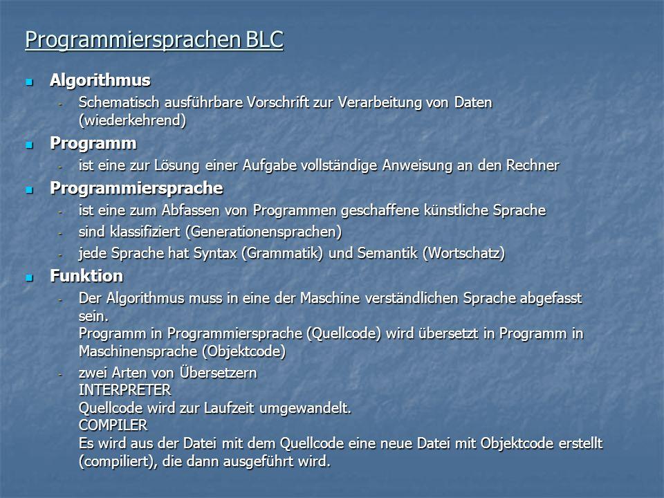 Programmiersprachen BLC