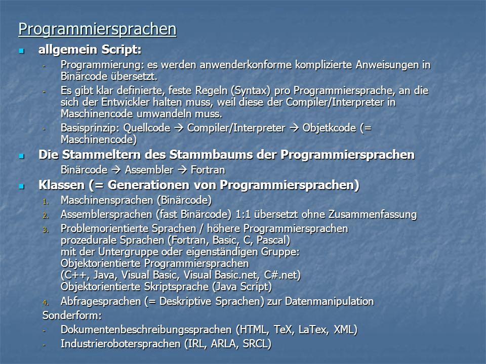 Programmiersprachen allgemein Script: