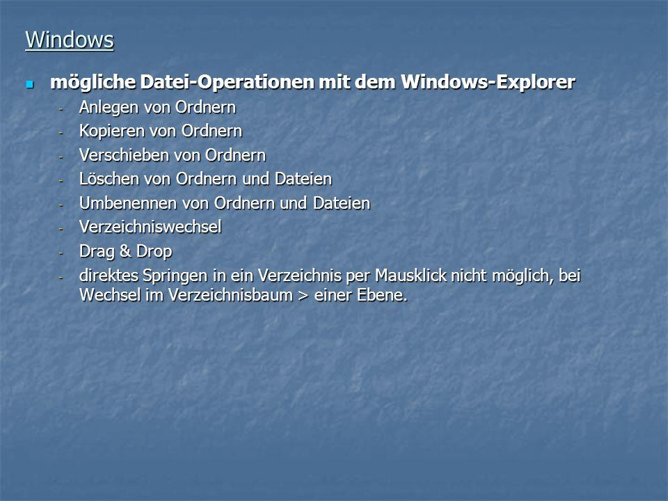 Windows mögliche Datei-Operationen mit dem Windows-Explorer