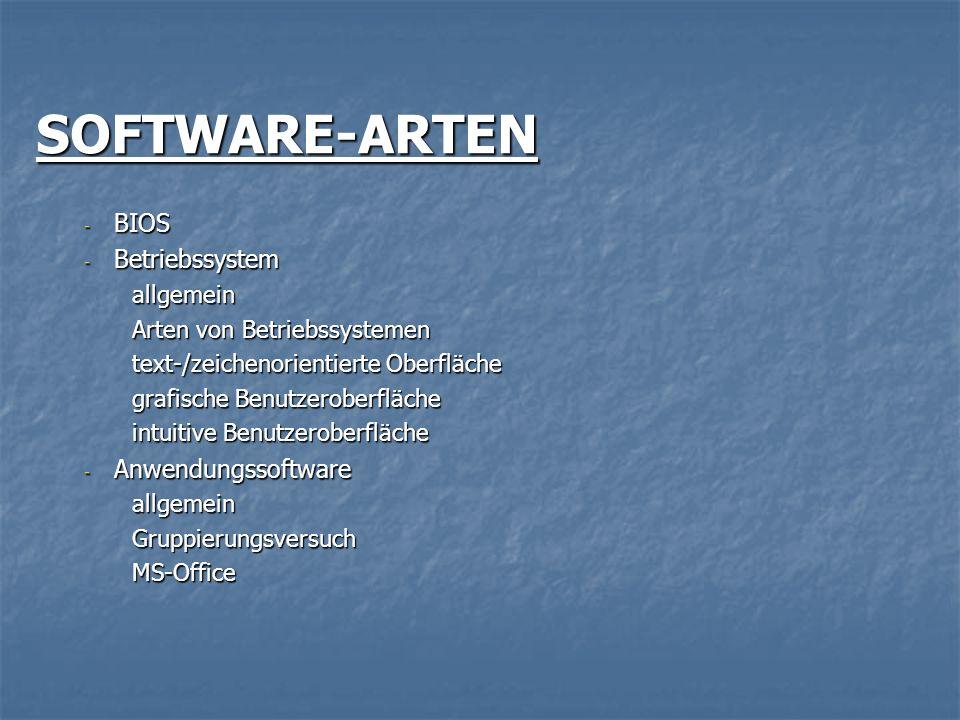 SOFTWARE-ARTEN BIOS Betriebssystem Anwendungssoftware allgemein