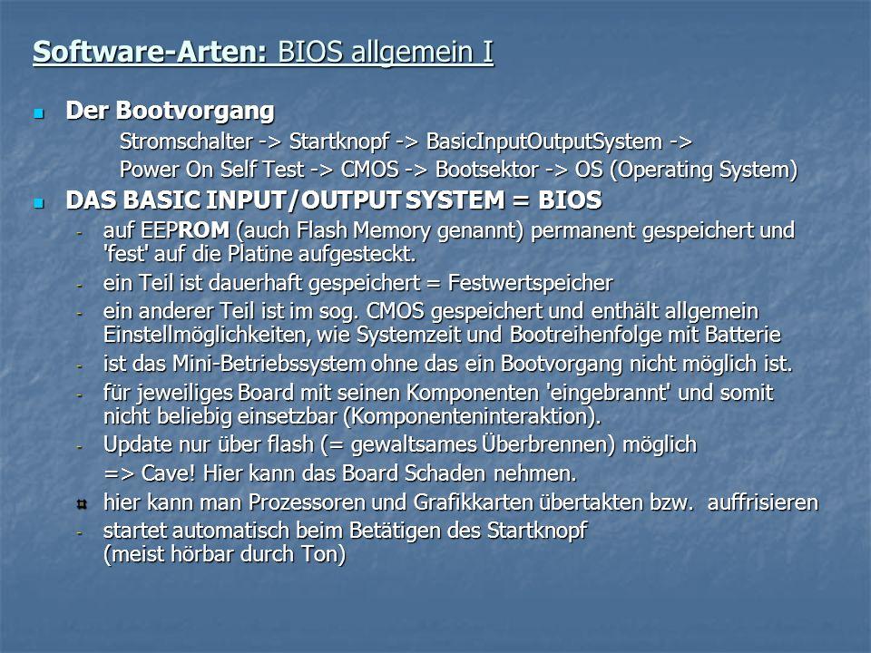 Software-Arten: BIOS allgemein I