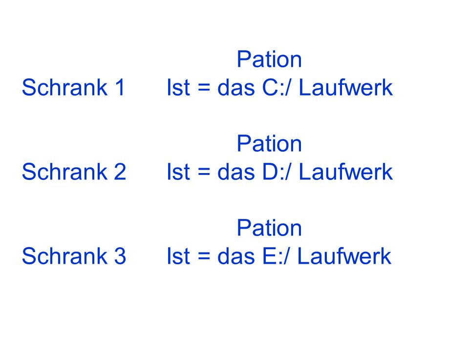 PationSchrank 1 Ist = das C:/ Laufwerk.Schrank 2 Ist = das D:/ Laufwerk.