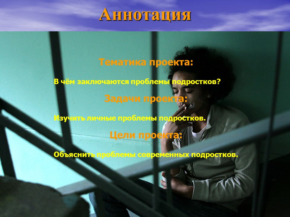 Аннотация Тематика проекта: Задачи проекта: Цели проекта: