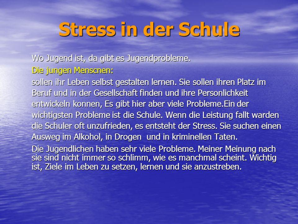 Stress in der Schule Wo Jugend ist, da gibt es Jugendprobleme.