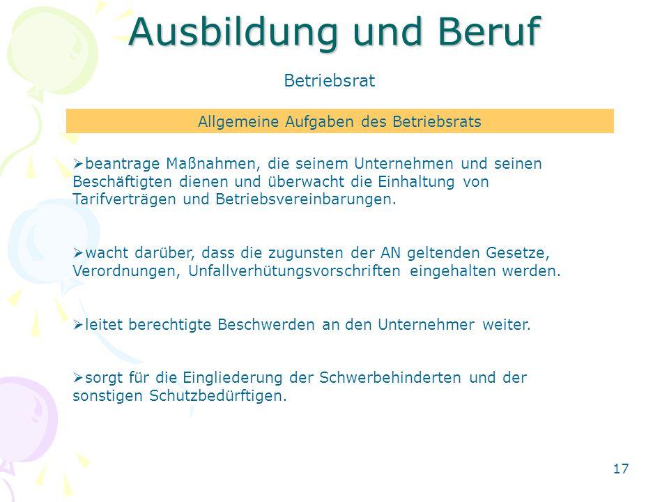 Allgemeine Aufgaben des Betriebsrats
