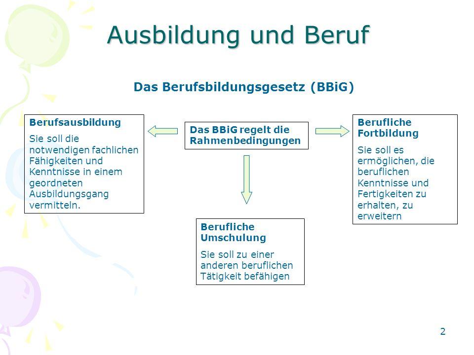 Ausbildung und Beruf Das Berufsbildungsgesetz (BBiG) Berufsausbildung