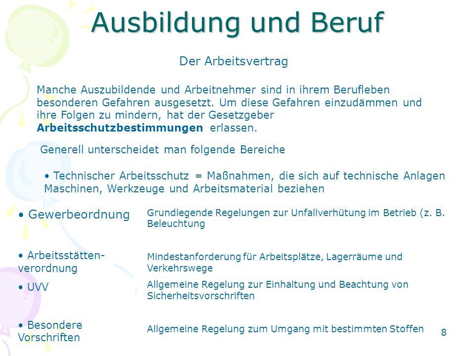 Ausbildung und Beruf Der Arbeitsvertrag Gewerbeordnung