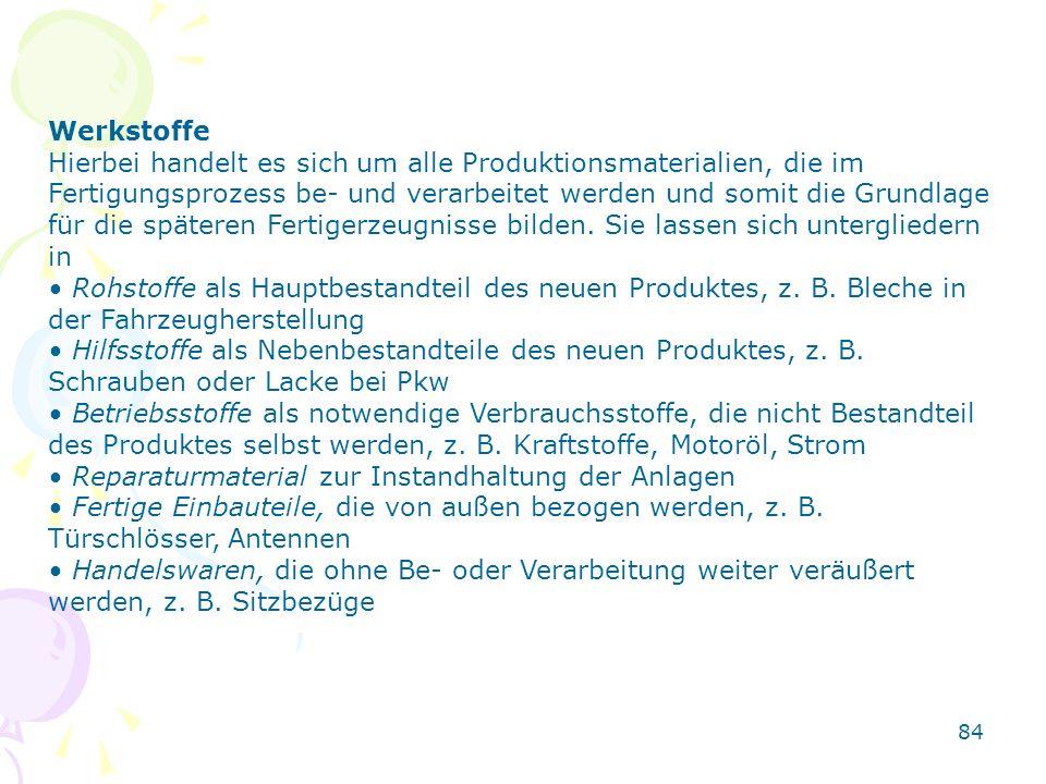 Werkstoffe Hierbei handelt es sich um alle Produktionsmaterialien, die im Fertigungsprozess be- und verarbeitet werden und somit die Grundlage für die späteren Fertigerzeugnisse bilden.