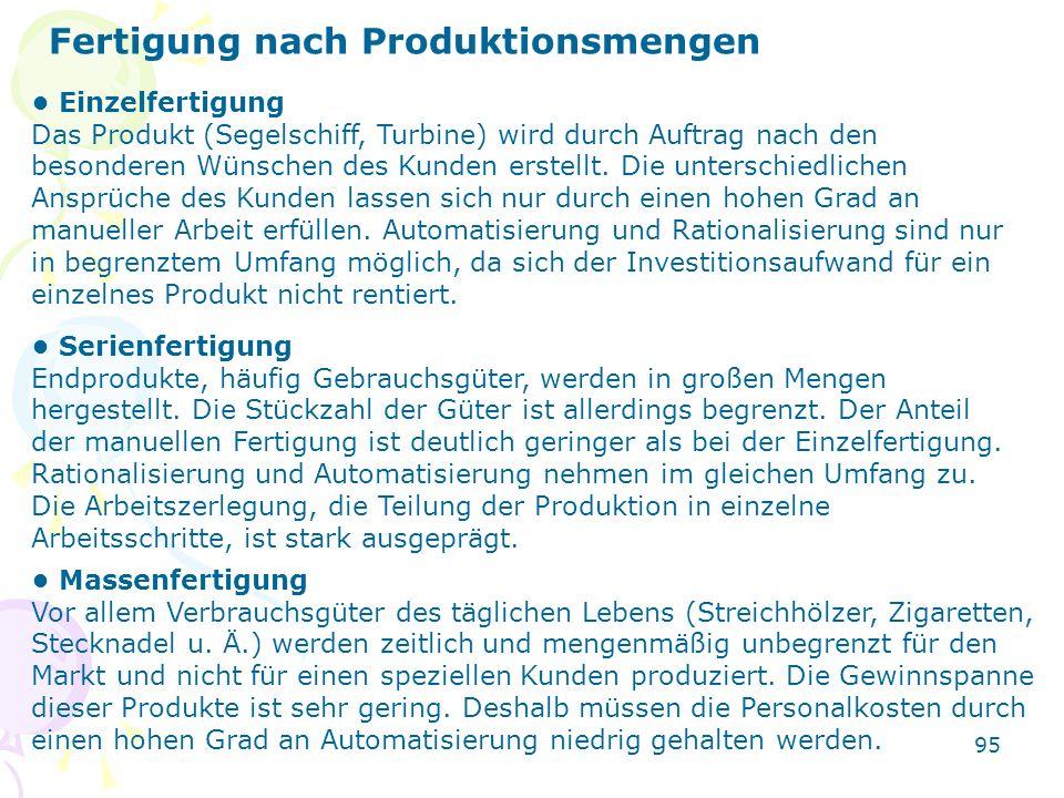 Fertigung nach Produktionsmengen